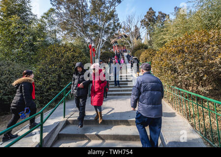 Stairs to Guanmiao Pavilion in Jingshan Park in Beijing, China - Stock Image