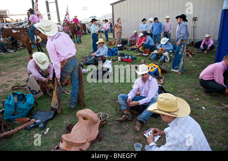 Cowboy members of  PRCA waiting backstage for  rodeo event  in Bridgeport, Texas, USA - Stock Image