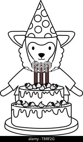 cute sheep with sweet cake in birthday party vector illustration design - Stock Image