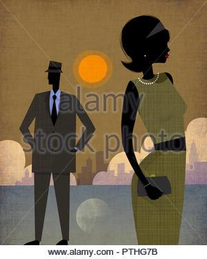Elegant couple in Manhattan, New York - Stock Image