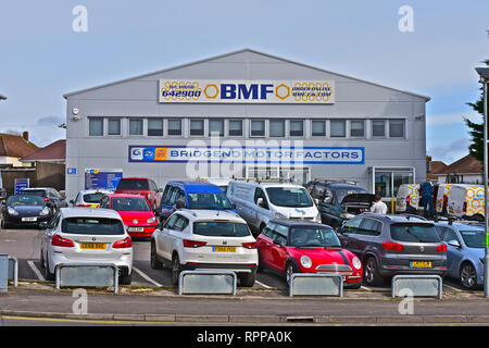 The warehouse and shop of Bridgend Motor Factors / BMF, a popular local supplier of motor accessories and parts to the Public and Trade. - Stock Image