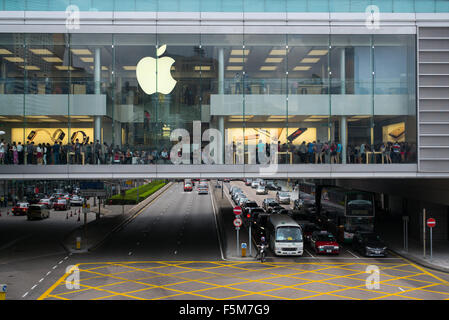View of the Apple Store in Central, Hong Kong - Stock Image