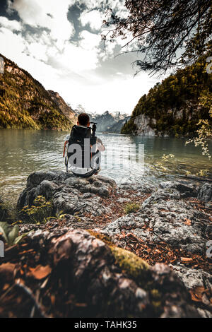 Idyllic alpine lake koenigsee in Berchtesgaden, Bavaria, Germany - view from the malerwinkel - Stock Image