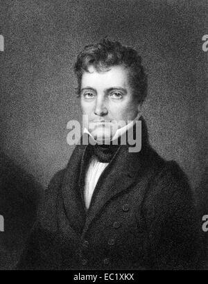 Josiah Stoddard Johnston (1784-1833) on engraving from 1834. United States Representative and Senator from Louisiana. - Stock Image