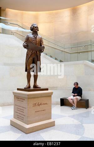 Richmond, Virginia. Statue of Thomas Jefferson in the Capitol. - Stock Image