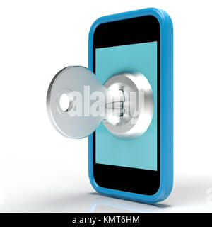 Security Key On Mobile Showing Secured And Privacy - Stock Image