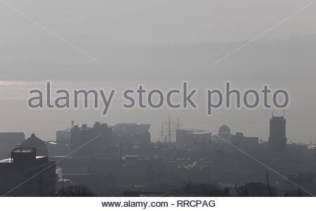 V&A design Museum with fog Dundee Scotland  February 2019 - Stock Image