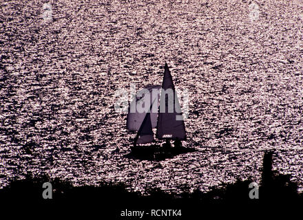 Yacht at sea. North Sea off Suffolk Coast, England UK. 2000's - Stock Image