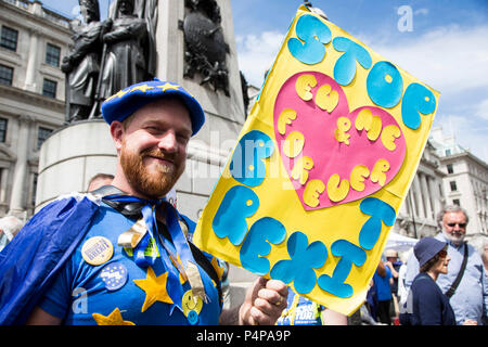 London, UK. 23 June 2018. Remain supporters and protesters gather in Pall Mall for an Anti-Brexit March and Rally to demand a People's Vote. Photo: Bettina Strenske/Alamy Live News - Stock Image