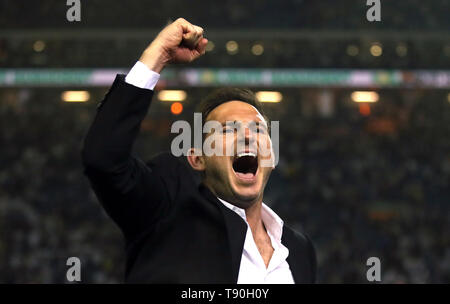 Derby County manager Frank Lampard celebrates victory after the Sky Bet Championship Play-Off, Semi Final, Second Leg match at Elland Road, Leeds. - Stock Image