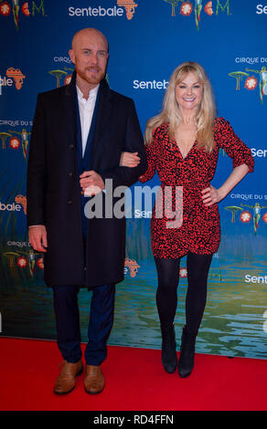 London, United Kingdom. 16 January 2019. Sarah Hadland arrives for the red carpet premiere of Cirque Du Soleil's 'Totem' held at The Royal Albert Hall. Credit: Peter Manning/Alamy Live News - Stock Image