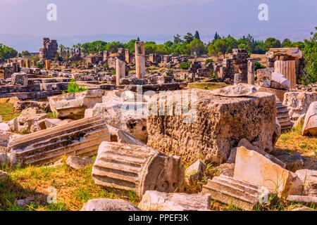 Hierapolis ancient city ruins, Pamukkale, Denizli, Turkey.Travel, tourism, landmark concept. - Stock Image