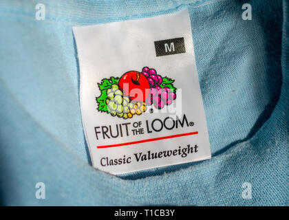 Fruit of the Loom Logo inside an item of clothing, Fruit of the Loom is an American  clothing manufacturer founded in 1851. - Stock Image