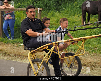 man and two boys in horse drawn trap on the hill Appleby-in Westmorland at the crowded annual Appleby Horsefair, Cumbria, England UK, 8 June, 2018. Father & sons driving trap Credit: Steve Holroyd/Alamy Live News - Stock Image