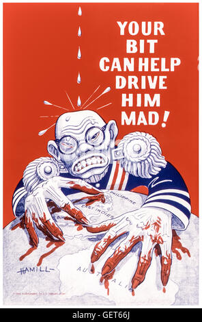 'YOUR BIT CAN HELP DRIVE HIM MAD!'US World War 2 anti-Japanese propaganda poster published in 1942 showing - Stock Image