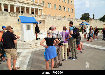 Tourist attraction: Changing of Guards, Athens, Greece - Stock Image