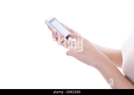 close view of human using smartphone - Stock Image