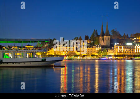 Lucerne lake waterfront and historic architecture evening view, amazing views of Switzerland - Stock Image