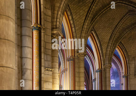 Arches and ceiling details in Cathedral Notre Dame, Paris France - Stock Image
