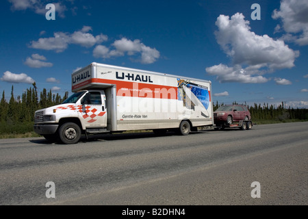 U-haul van on the move in Alaska, Northern America, United States of America - Stock Image