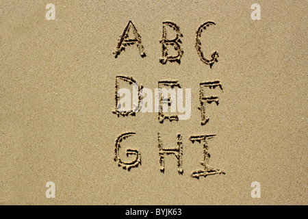 The letters A-I written out in wet sand. Please see my collection for more similar photos. - Stock Image