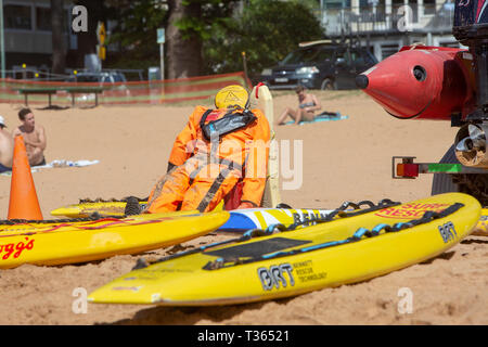 Surf rescue equipment on Palm beach in Sydney including manikin for volunteers to practice life saving techniques,Sydney,Australia - Stock Image