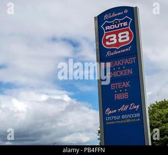 Route 38 restaurant sign, Trerulefoot, nr Saltash, Cornwall - Stock Image