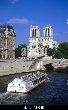Notre Dame and River Seine Paris France - Stock Image