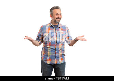 Smiling man wearing blue and orange plaid shirt making ready to go gesture with hands isolated on white background - Stock Image