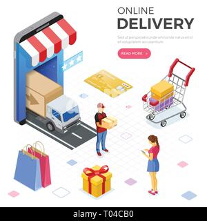 Internet Shopping Online Delivery Isometric Concept - Stock Image