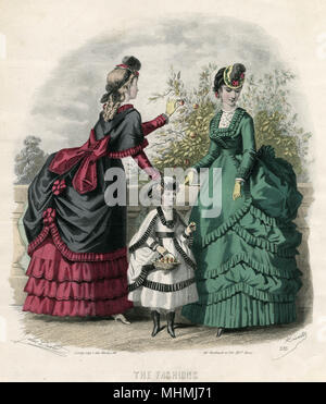 Women and little girl wearing polonaise with train & sleeves, picking fruit and putting them in a basket.     Date: September 1869 - Stock Image