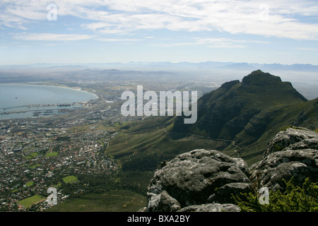 A View from Table Mountain Overlooking Cape Town, Western Cape Province, South Africa. - Stock Image