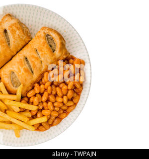 Tasty Sausage Rolls with Baked Beans and Chips - Stock Image