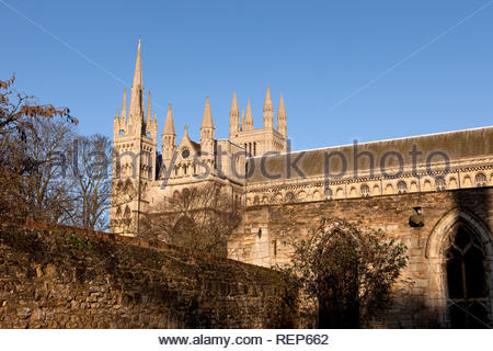 Side view of Peterborough Cathedral, Cambridgeshire, England, UK - Stock Image