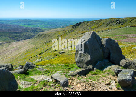 Shelf Moor from Higher Shelf Stones on the Bleaklow plateau above Glossop, Peak District, Derbyshire, England, UK. - Stock Image