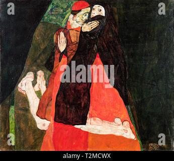 Egon Schiele, Cardinal and Nun (Caress), painting, 1912 - Stock Image
