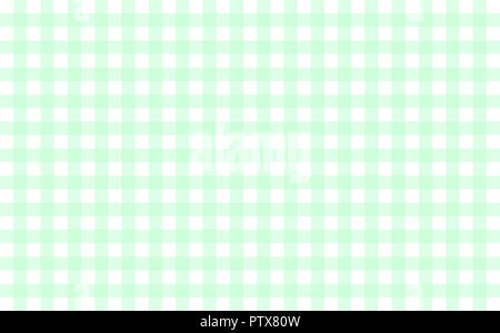 Gingham-like table cloth with mint green and white checks. Symmetrical overlapping stripes in a single solid color against white background - Stock Image
