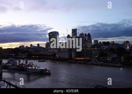 London City Skyline at Dusk, London, UK - Stock Image