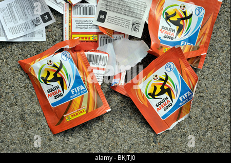 world cup 2010 south africa panini stickers wrappers - Stock Image