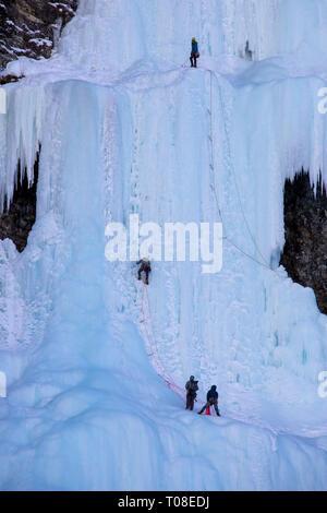Ice Climbing Lake Louise Waterfall Frozen Canada - Stock Image