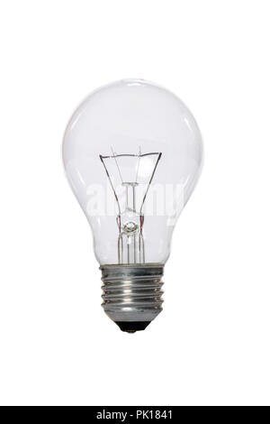 Incandescent lamp with transparent glass bulb and E27 europe connection. Old standard of consumption obsolete and prohibited by current regulations. - Stock Image