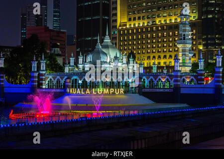 Masjid Jamek (Jamek Mosque) at night, Kuala Lumpur, Malaysia. - Stock Image