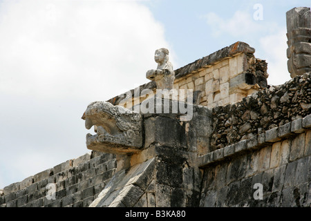 Detail of the Temple of the Warriors, Chichen Itza Archaeological Site, Chichen Itza, Yucatan Peninsula, Mexico - Stock Image