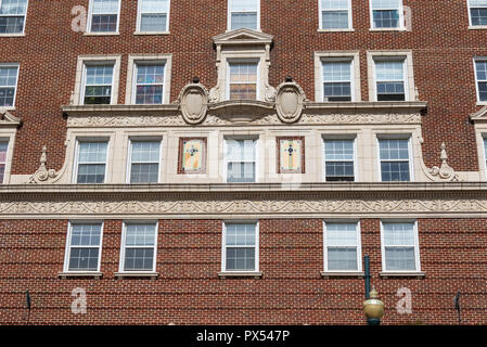 ASHEVILLE, NC, USA-10/17/18:  A frieze and portion of a cornice, defining the base of the Battery Park hotel building. - Stock Image