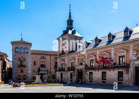 Madrid, Spain - April 14, 2019: Plaza de la Villa and the Old Town Hall, Casa de la Villa - Stock Image