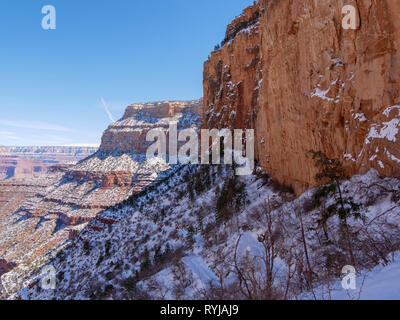 A view back down the Bright Angel Trail. - Stock Image