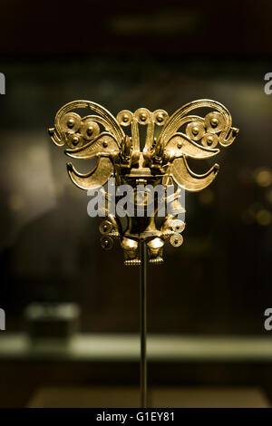 Gold objects at the Gold Museum (Museo del Oro) Tairona Santa Marta Colombia - Stock Image