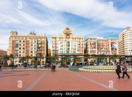 Malaga Spain, Plaza de la Marina, Buildings of the Provincial Deputation, Malaga, Andalusia, Spain. - Stock Image