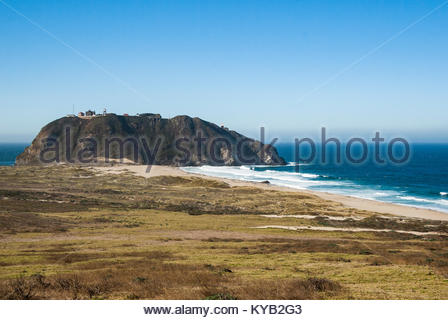 Point Sur lighthouse, Big Sur, Monterey County, California, as seen from the Pacific Coast Highway. - Stock Image