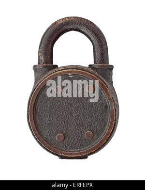 vintage padlock over white background, clipping path, space for your name - Stock Image